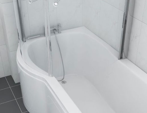 Only 450 Primo Space Saver P Shaped Shower Bath Suite