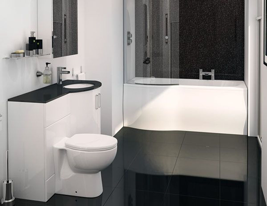 only sparkle p shape vanity bathroom suite with. Black Bedroom Furniture Sets. Home Design Ideas