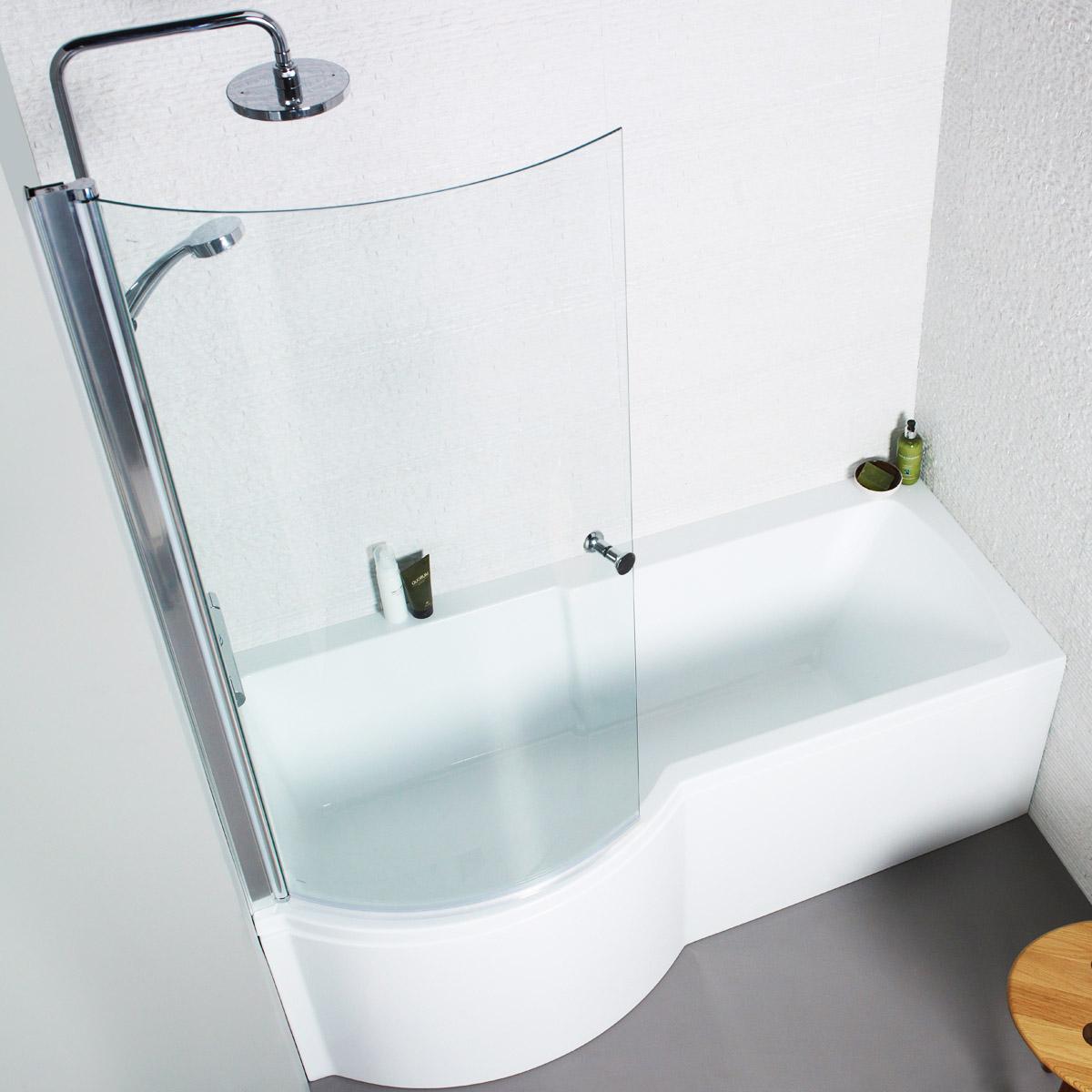 Only £133.99!   Adapt P Shaped Shower Bath by K-Vit / Kartell   VIP ...