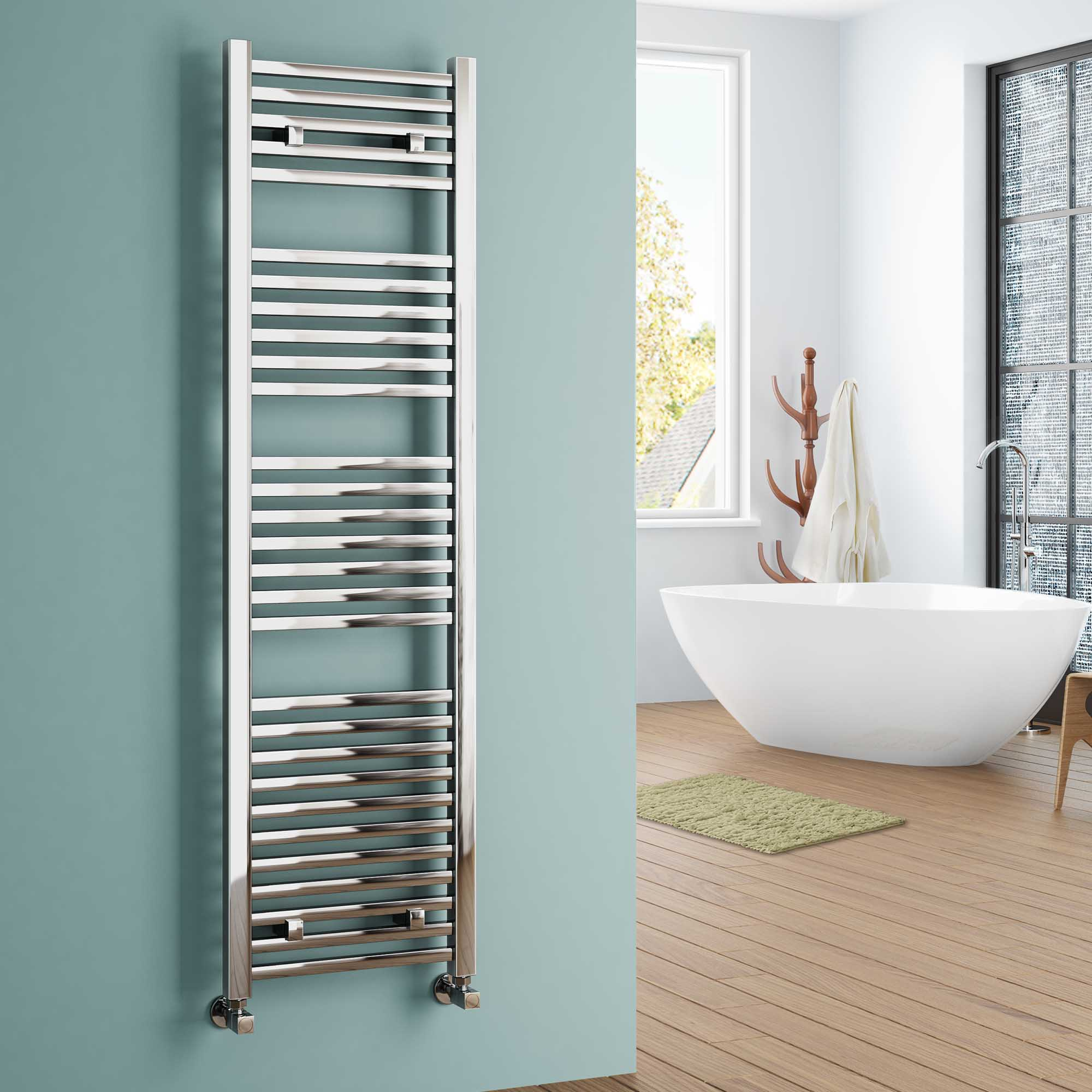 Only Synergy Chrome Designer Square Bathroom Ladder Rail Radiator Vip